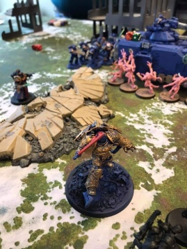 The Lord Commander of the Imperium himself arrives to take on the xeno, the heretic, the daemon. This was from Paul's Ultramarine army, a project he is working in tandem with the goblin to ensure that the store has a demo army.