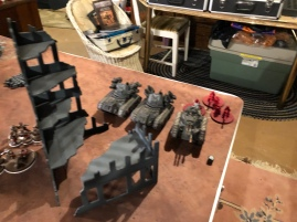 Left flank held by 2 Wyverns, a Heavy Weapons Squad and a Leman Russ Anhillator